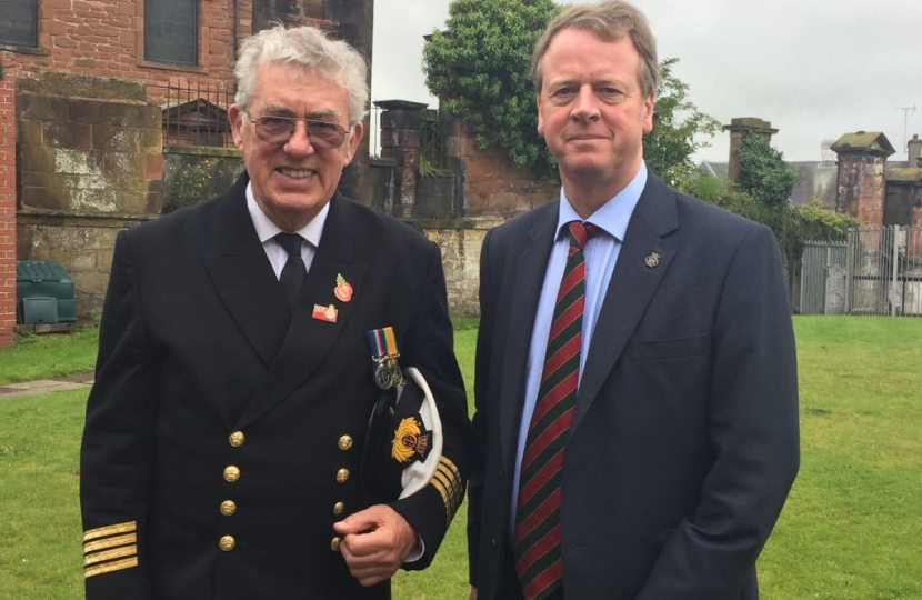 Alister Jack MP with retired Merchant Navy Chief Engineer Captain Arthur Murphy