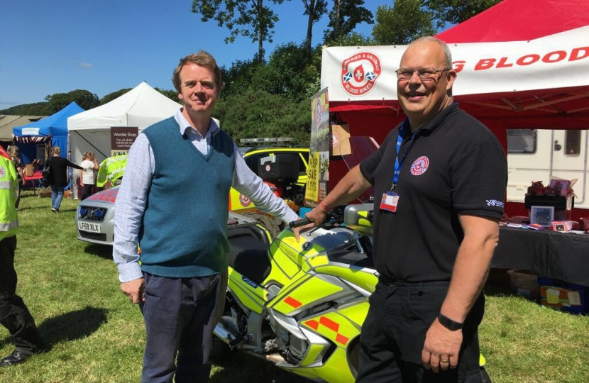 Alister Jack MP with D&G Blood Bikes