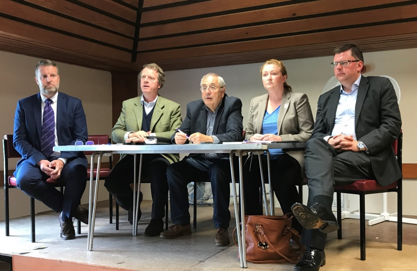 Alister Jack MP attending public meeting in Stranraer about the future of the Galloway Community Hospital