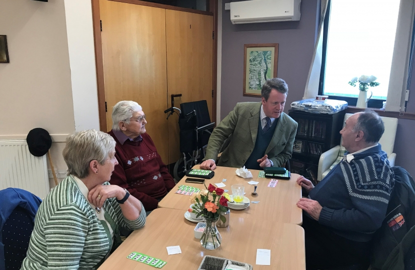 Alister Jack with members of the Riverside Day Centre in Newton Stewart