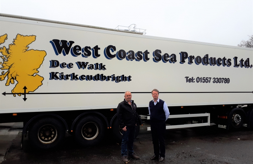 Alister Jack MP at West Coast Sea Products in Kirkcudbright