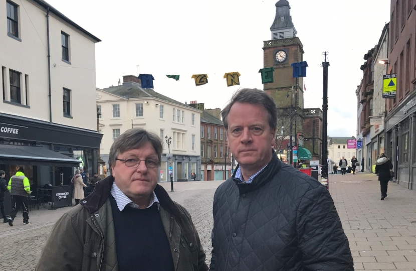 Alister Jack MP and Nith Councillor, Malcolm Johnstone in Dumfries town centre