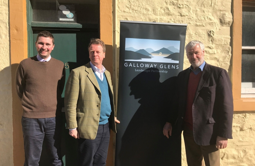 Alister Jack MP with McNabb Laurie and the late Sir Alex Fergusson outside the Galloway Glens offices in Castle Douglas