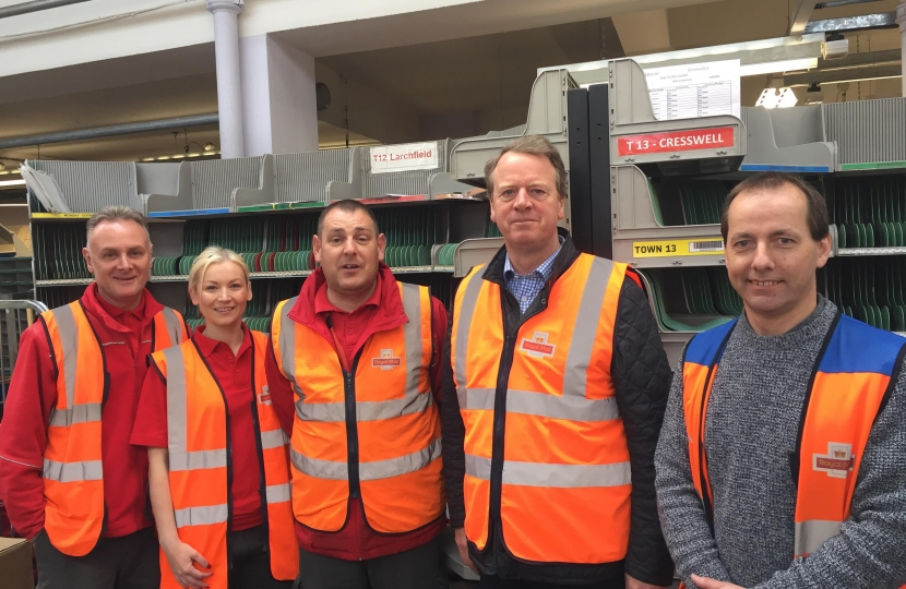 Alister Jack MP visiting local postmen and women at the sorting office in Dumfries