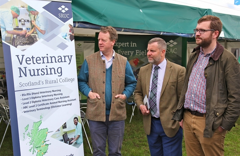 Alister Jack MP with local MSPs, Finlay Carson and Oliver Mundell, at the Dumfries Show