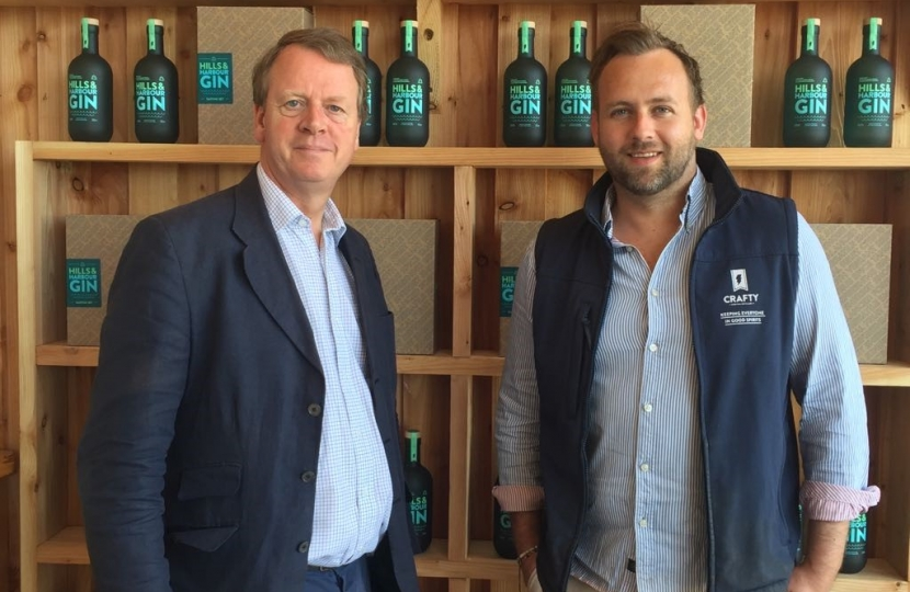 Alister Jack MP with Craig Rankin at Crafty Gin Distillery in Newton Stewart