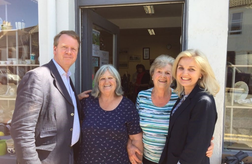 Alister and Ann Jack with Wigtown Community Shop Vice President Jessie Thomson and volunteer Betty McGowan